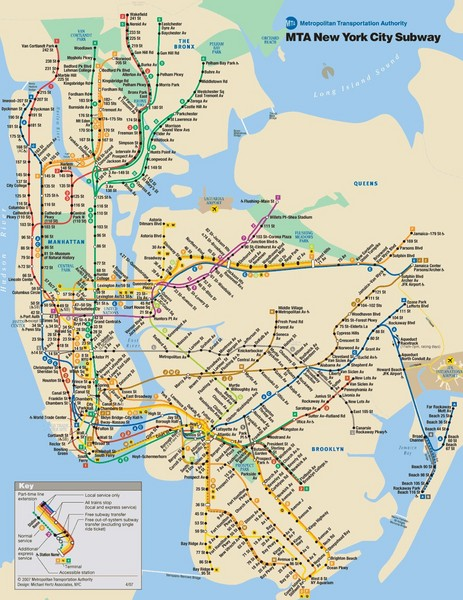 New York City Public Transportation Map New York City Mappery