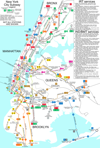 Map of NYC subway transit system and stops. From ccablog.blogspot.com