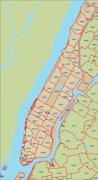 New York City zipcode map   manhattan new york • mappery