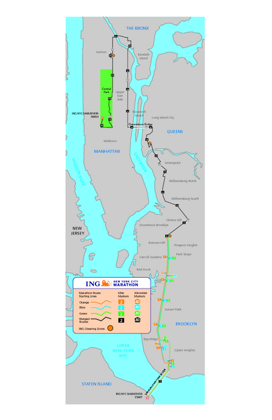 New York Marathon Course Map 2008