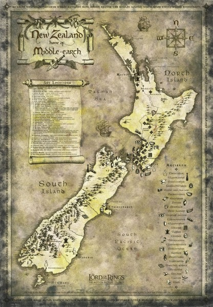 New Zealand Lord of Rings Tourist map  New Zealand  mappery