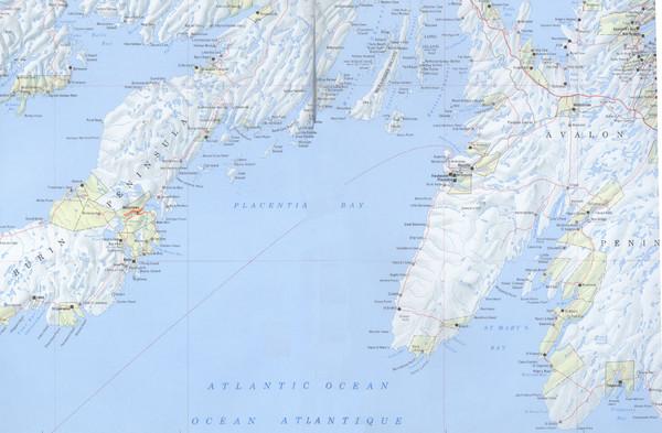 Newfoundland SouthEast Coast Map  Placentia Bay Newfoundland