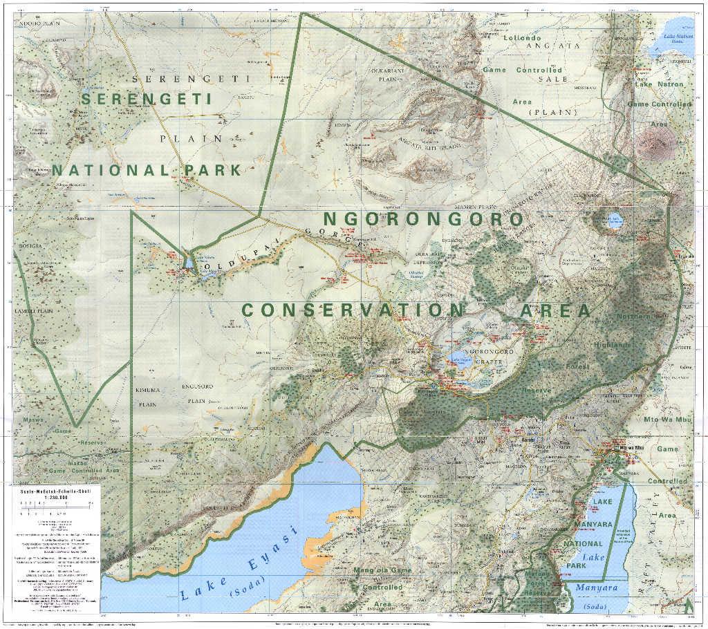 ngorongoro conservation area map ngorongoro � mappery