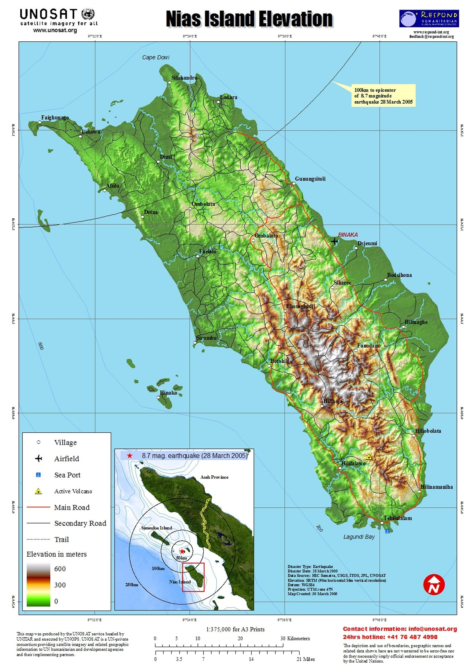 Nias Island Elevation and Earthquake Map See map details From alertnet ...