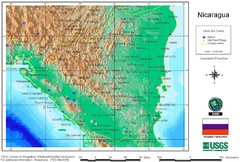 Nicaragua City and Town Elevation Map
