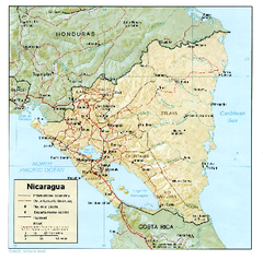 Nicaragua (Shaded Relief) 1985 Map
