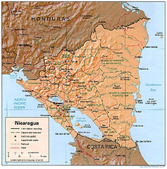 Nicaragua (Shaded Relief) 1997 Map