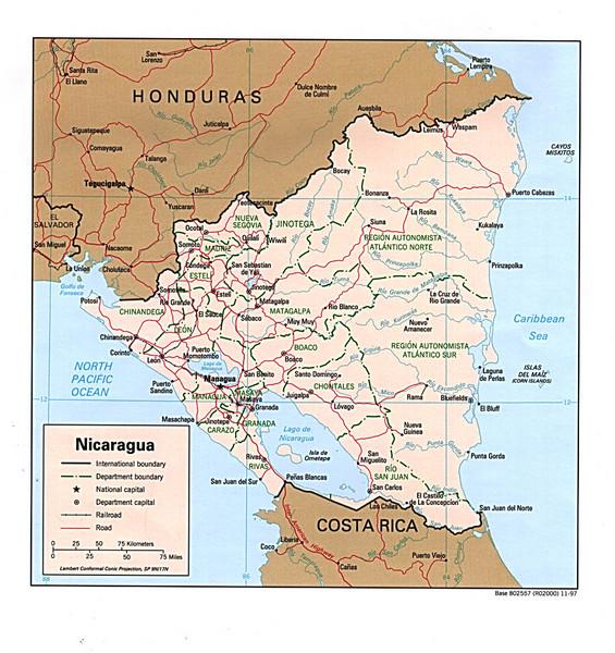 Nicaragua maps mappery – Nicaragua Travel Map