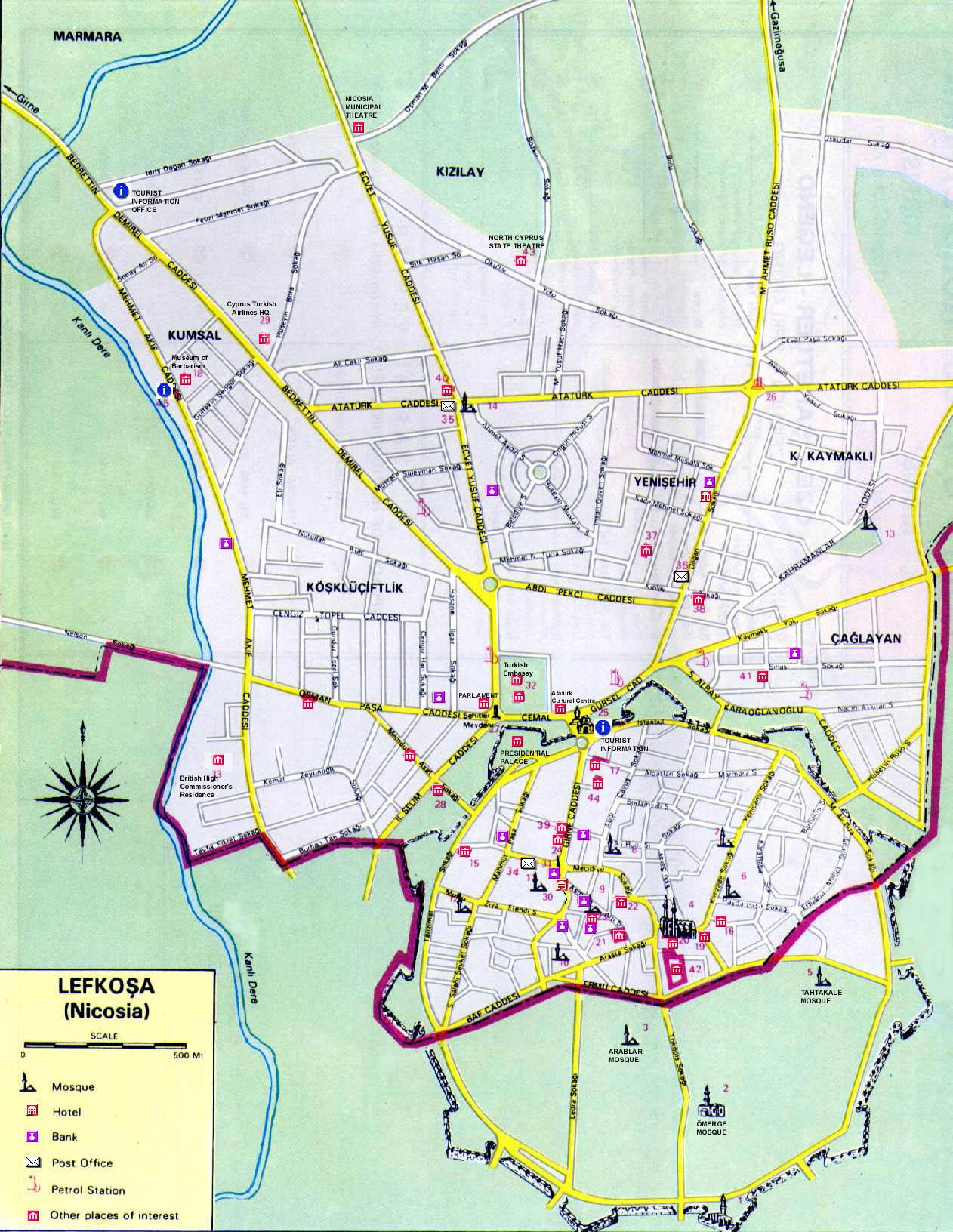 Nicosia Tourist Map Nicosia Cyprus mappery