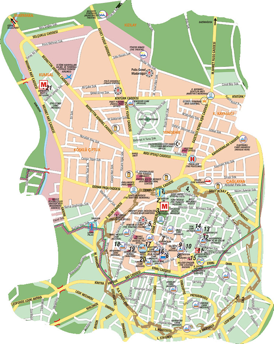 Nicosia Tourist Map Turkish side Nicosia Cyprus mappery
