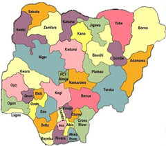 Nigeria political regions Map