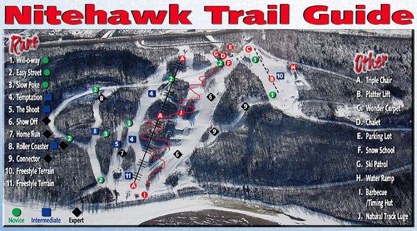 Nitehawk Ski Hill Ski Trail Map