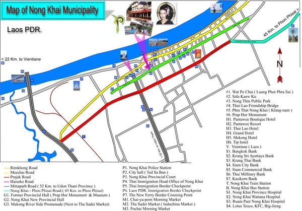 Nong Khai City Map