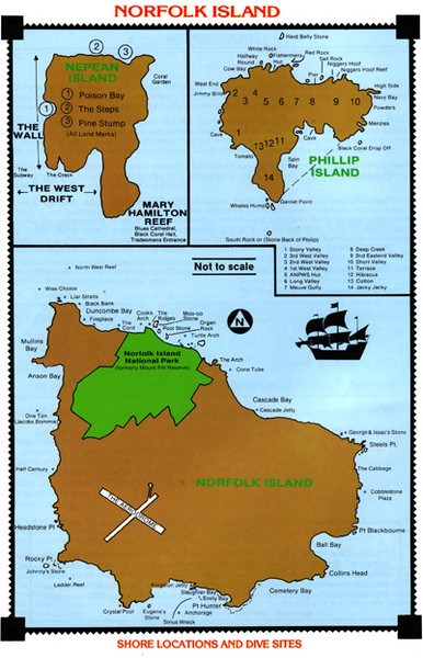 Norfolk Island dive sites Map