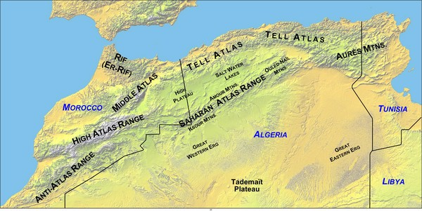 North Africa Mountain Ranges Map