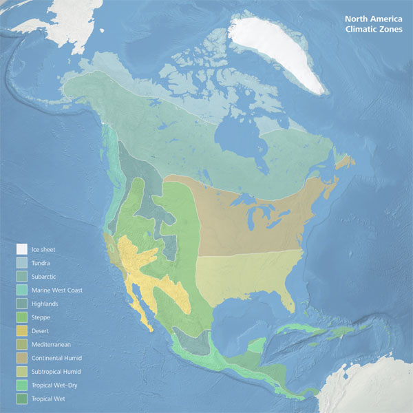 North America Climate Zones Map mappery