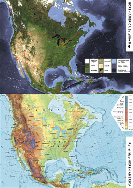 North America Satellite Relief Pair Map