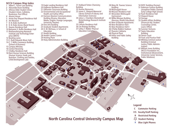 North Carolina Central University Campus Map - 1801 Fayetteville St ...