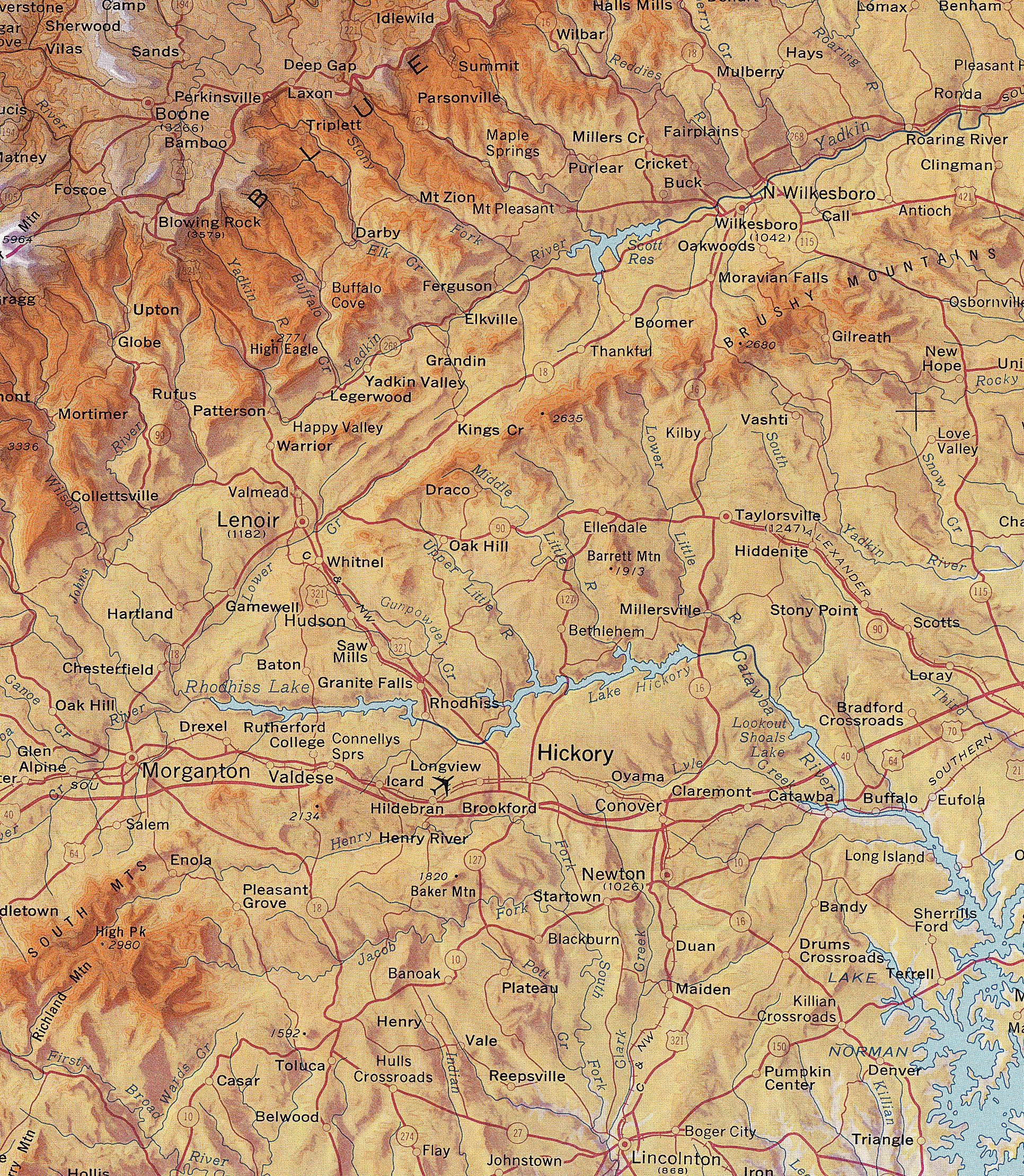 North Carolina Mountains Map - Hickory North Carolina • mappery