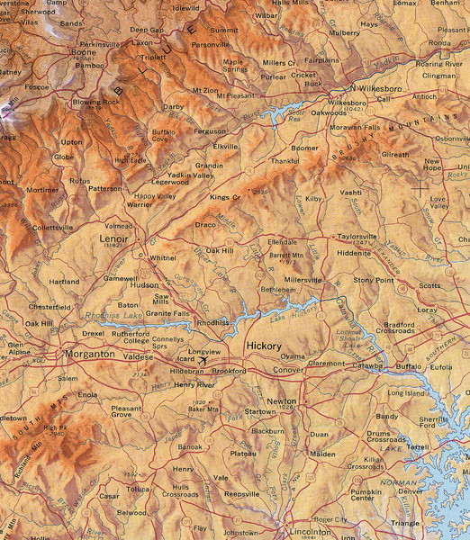 North Carolina Mountains Map  Hickory North Carolina