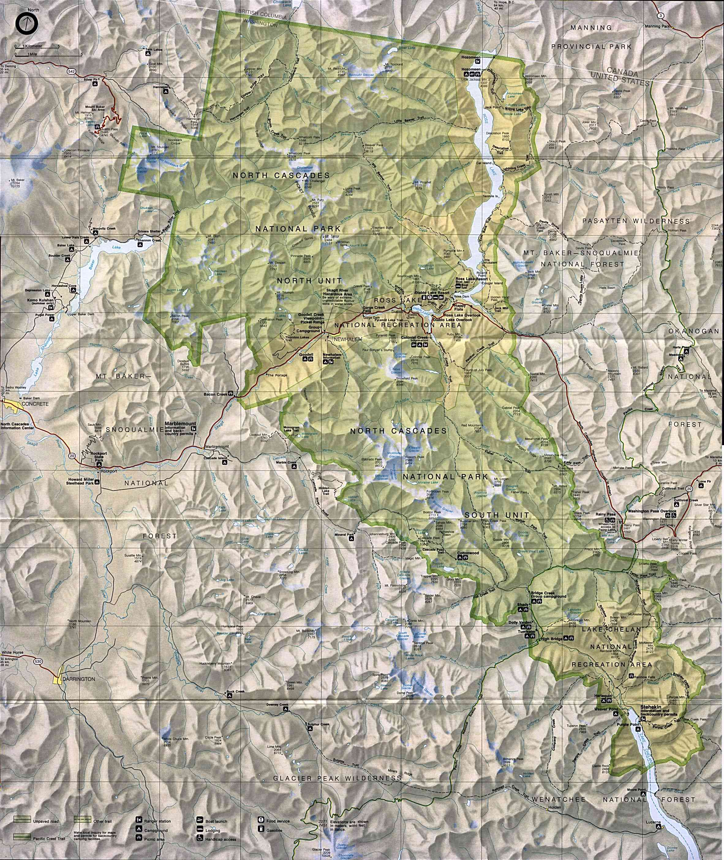 North Cascades National Park Physical Map north cascades np mappery