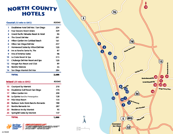 North County San Diego Tourist Map