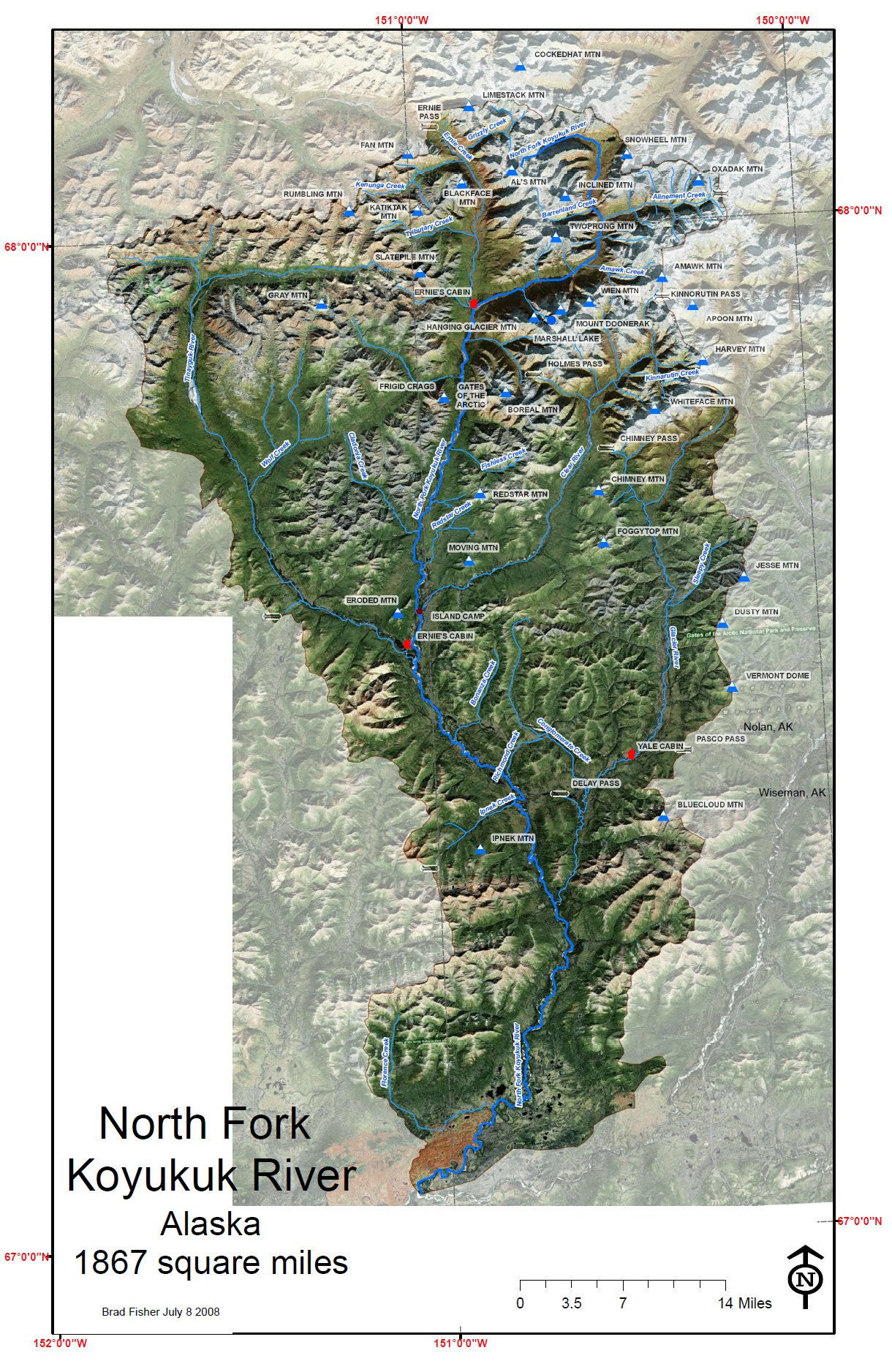 North Fork Koyukuk Watershed  Alaska Map  Wiseman Alaska