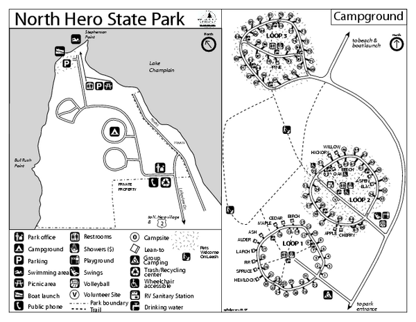 North Hero State Park Campground Map