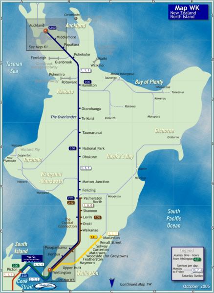 Map North Island Of New Zealand.North Island Rail Map North Island New Zealand Mappery