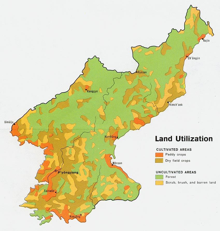 North Korea Land Use Map Mappery - North korea map
