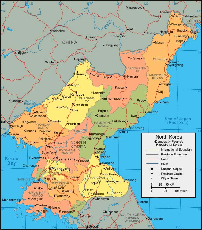 North Korea Political Map Mappery