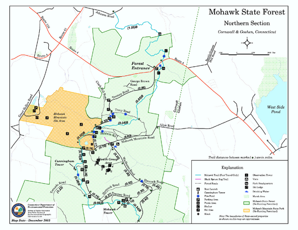 North Mohawk Mountain State Forest (Summer Trails) Map