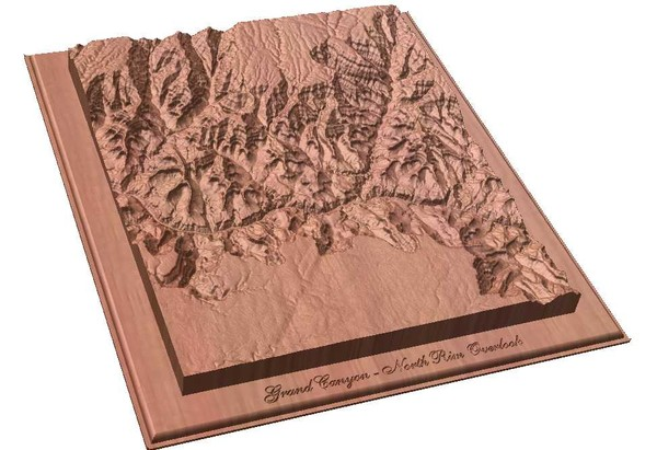 North Rim of the Grand Canyon carved by CarvedMaps.com Map
