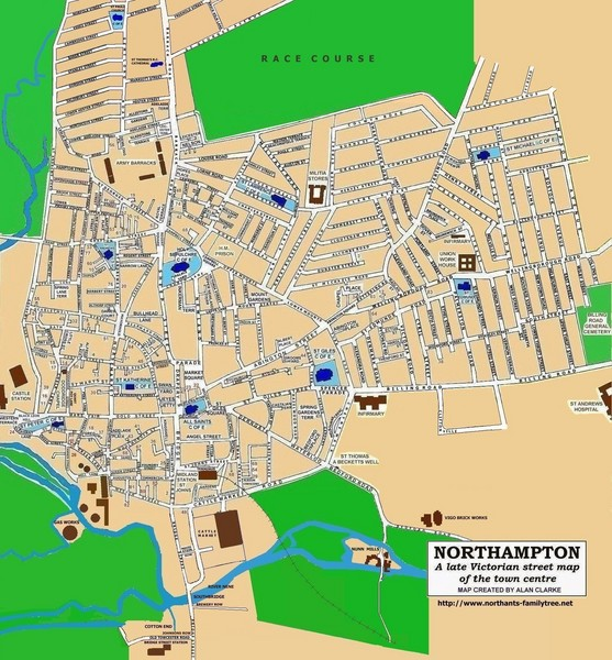 Northampton Town Map Northampton UK mappery