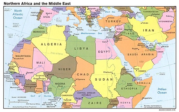 map of africa and middle east. Fullsize Northern Africa Map
