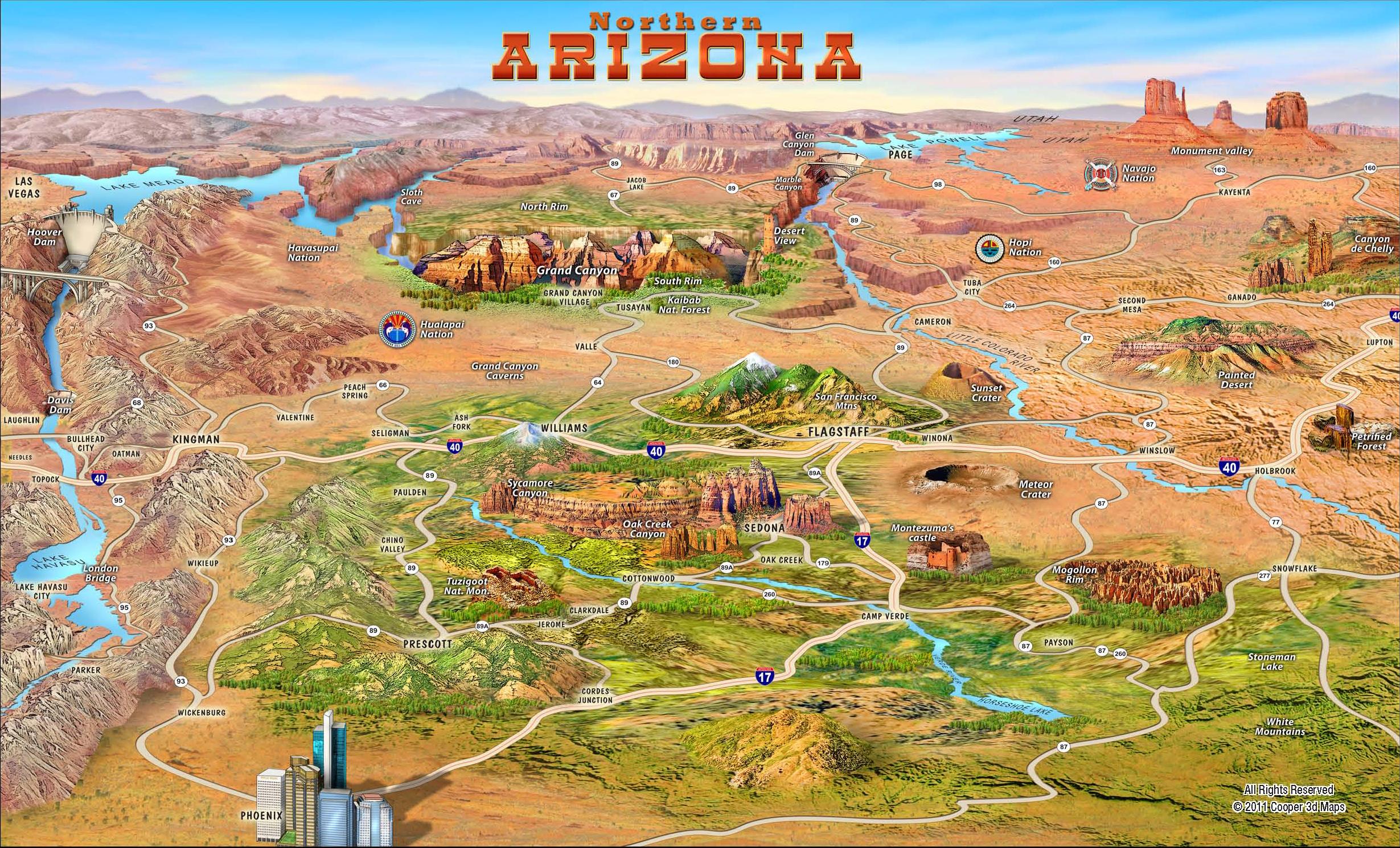 Northern Arizona Attractions Map  Arizona  Mappery