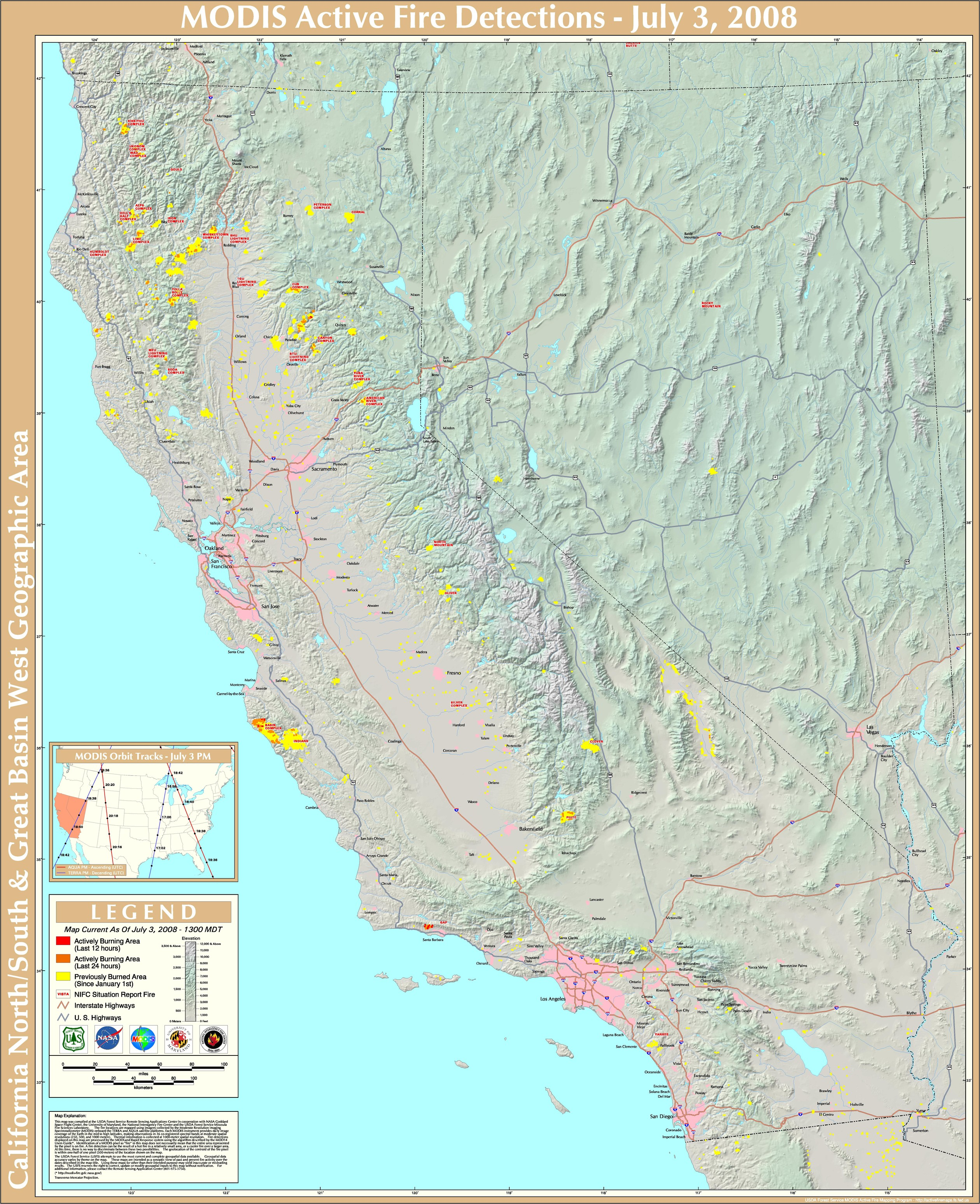 Northern California Fire Detection Map California mappery