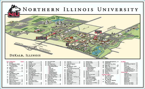 Rockford University Campus Map.Northern Illinois University Map Dekalb Illinois Mappery