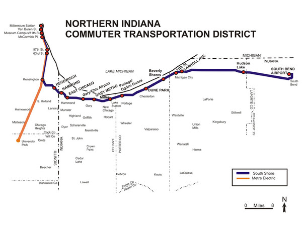 Northern Indiana Commuter Transportation District Map