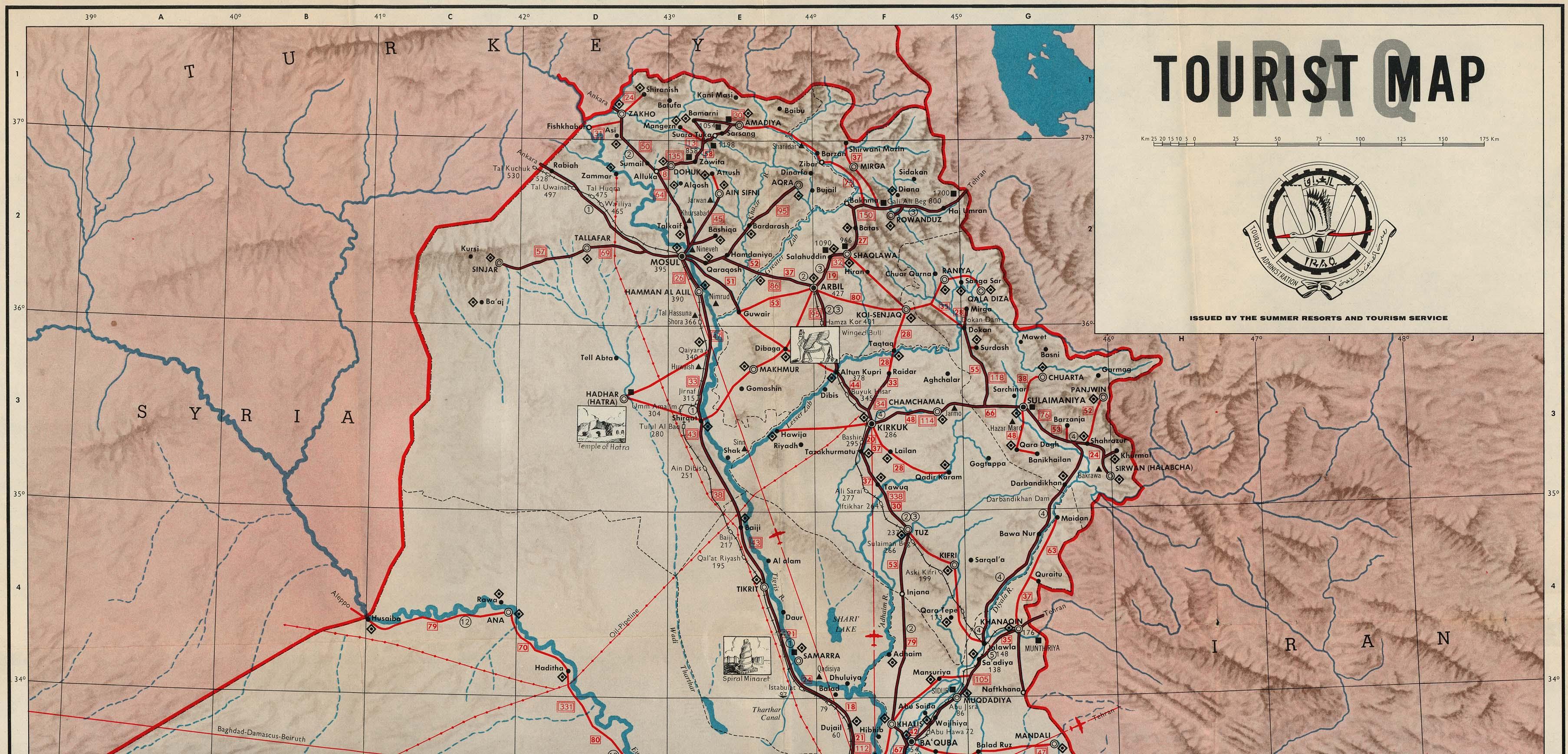 Northern Iraq Tourist Map Iraq mappery