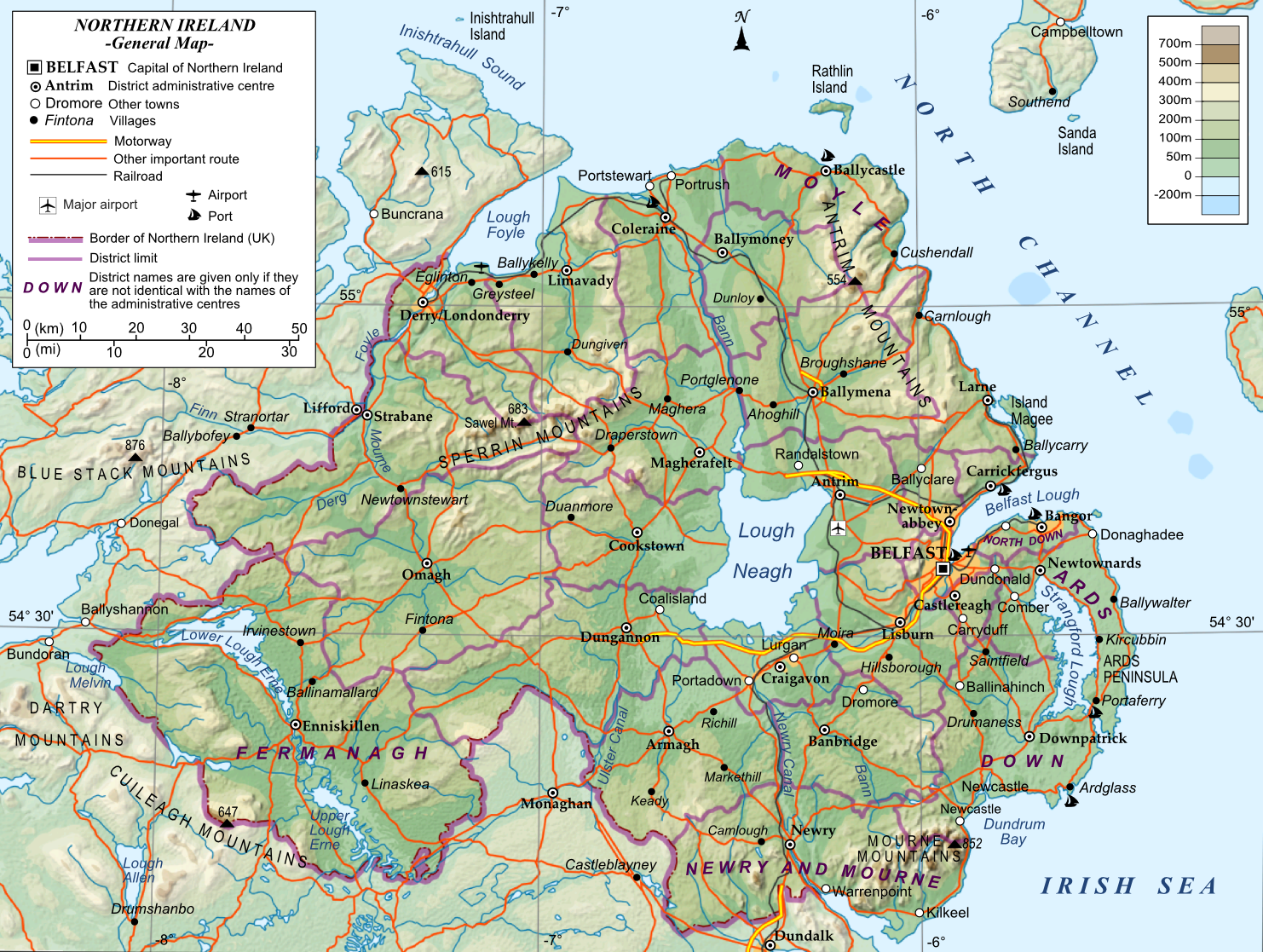 Map Of N Ireland.Northern Ireland General Map Northern Ireland Mappery