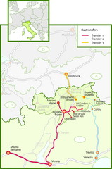 Northern Italy Bustransfer Map