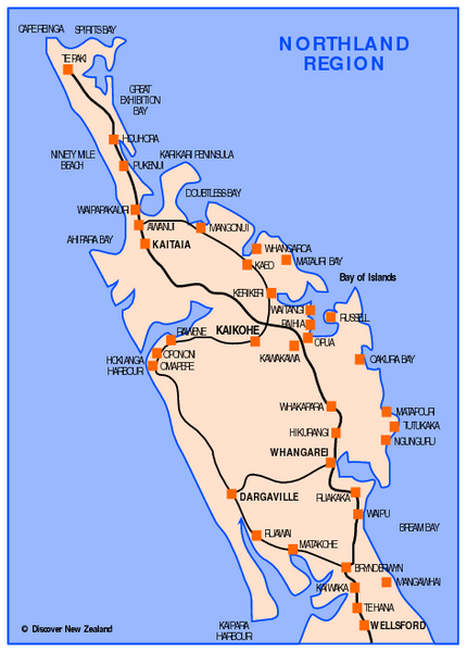 New Zealand Northland Map Detailed.Northland Map Northland New Zealand Mappery