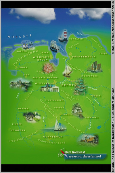 Tourist Map Of Germany.Northwest Germany Tourist Map Bockhornerfeld Germany Mappery