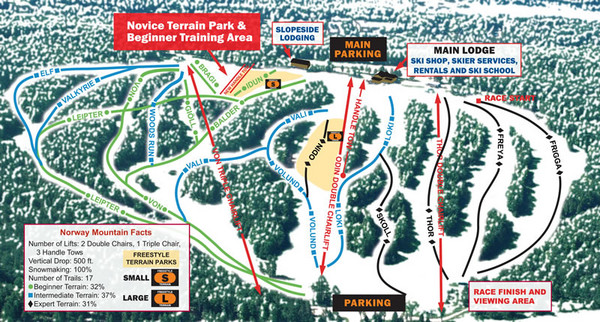 Norway Mountain Ski Trail Map