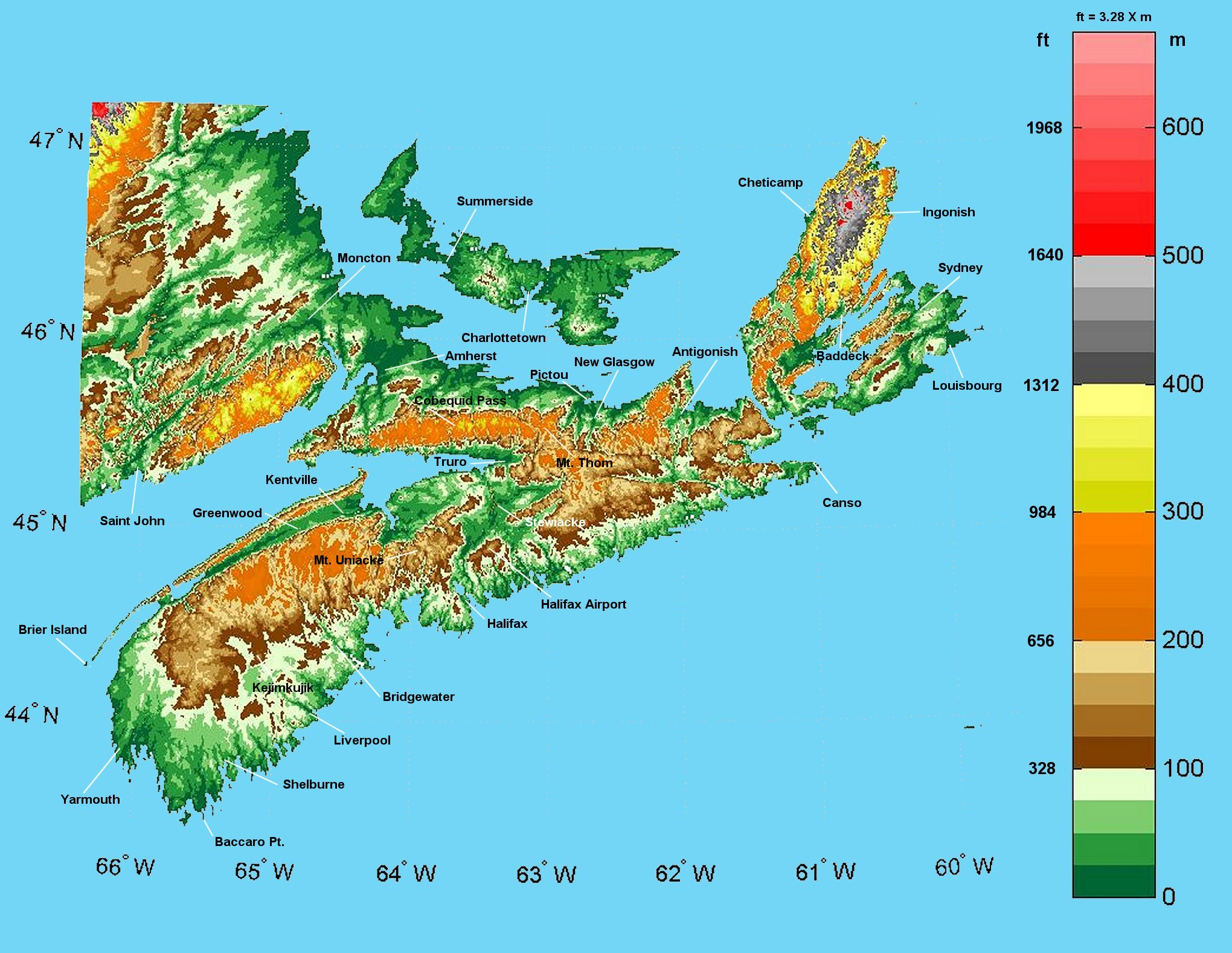 Nova Scotia Elevation Map Nova Scotia Mappery - Nova scotia map