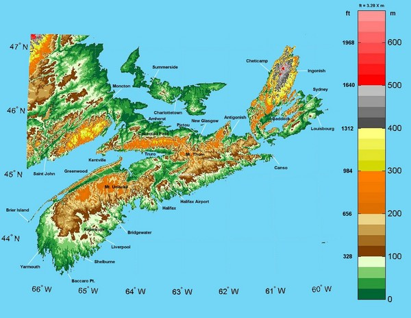 Nova Scotia Elevation Map Nova Scotia Mappery - Ground elevation map