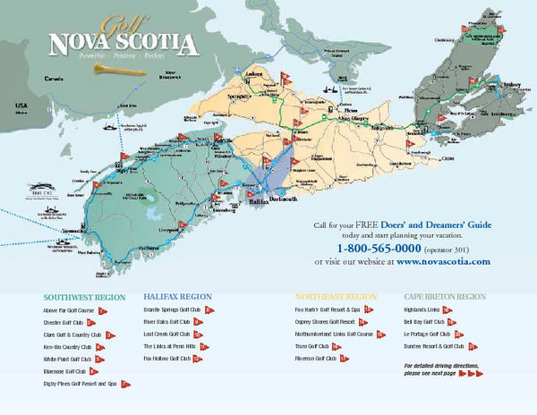 Nova Scotia Golf Map Nova Scotia Canada mappery