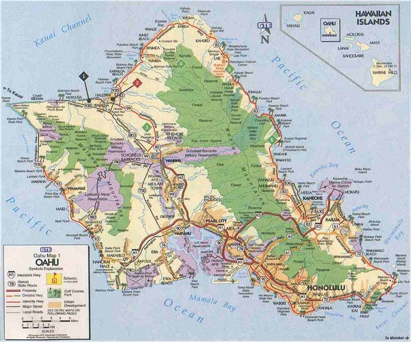 real life map collection mappery – Oahu Tourist Attractions Map