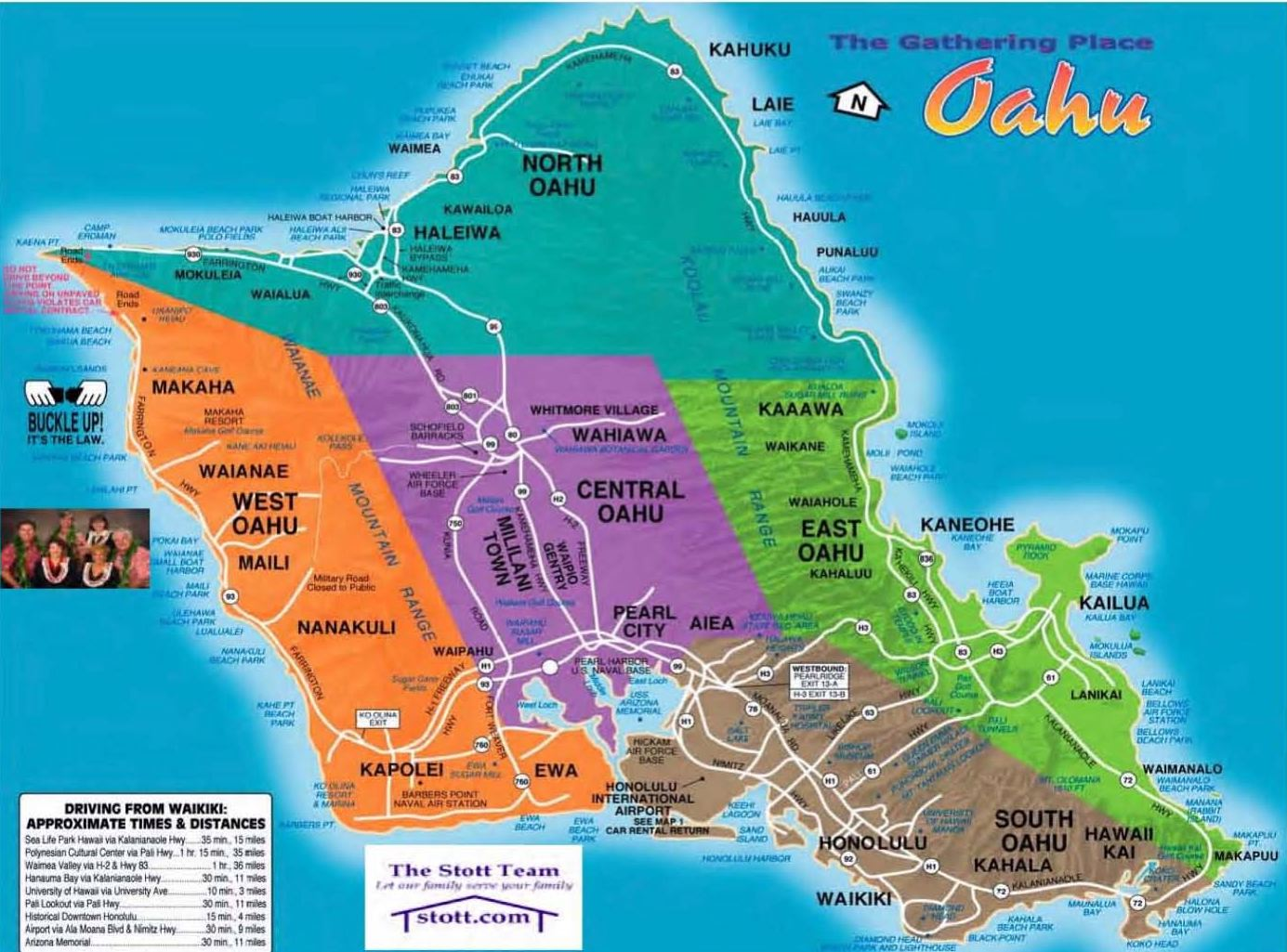 Oahu Hawaii Tourist Map Oahu Hawaii Mappery
